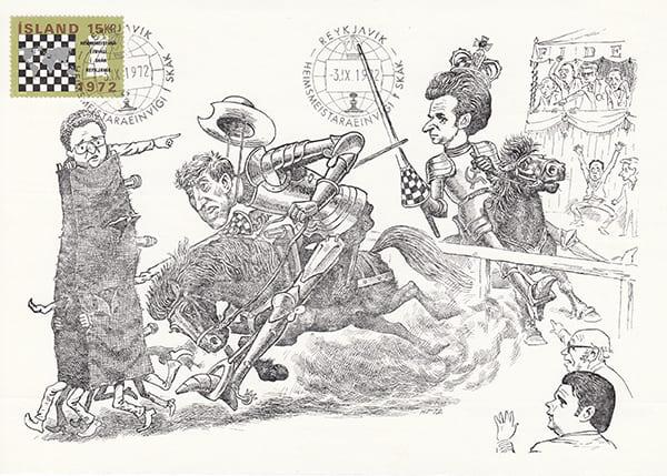 Spassky-Fischer (1972) Una Epopeya en Caricaturas-Halldór Pétursson-3