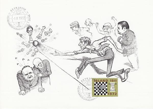 Spassky-Fischer (1972) Una Epopeya en Caricaturas-Halldór Pétursson-4