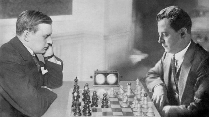 Partido del Campeonato del Mundo de Ajedrez entre José Raúl Capablanca y Alexander Alekhine. 1927 año-Foto Global Look Press Scherl