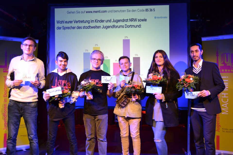 Die Kandidat*innen zur Wahl der Sprecher*innen des Jugendforum: Lukas, Soroush, Paul, Joel, Sarra und Assad (von links).