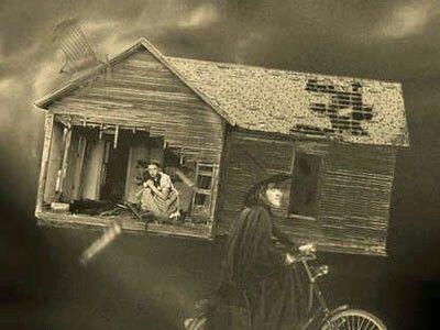 Dorothy's house in tornado