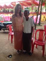 Me in my traditional Khmer dress with Vuthy's sweet grandma.