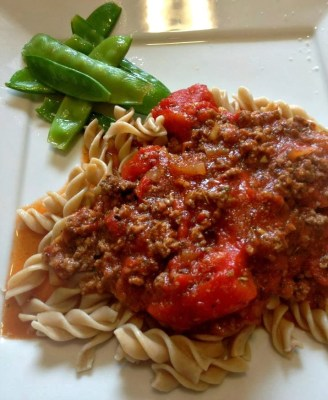 Pasta with jar sauce
