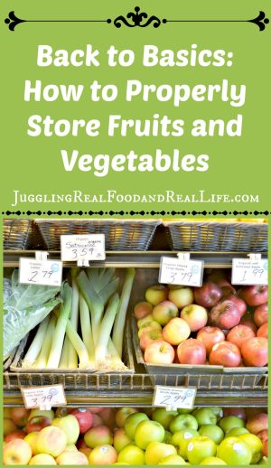 Proper storage of fruits and vegetables