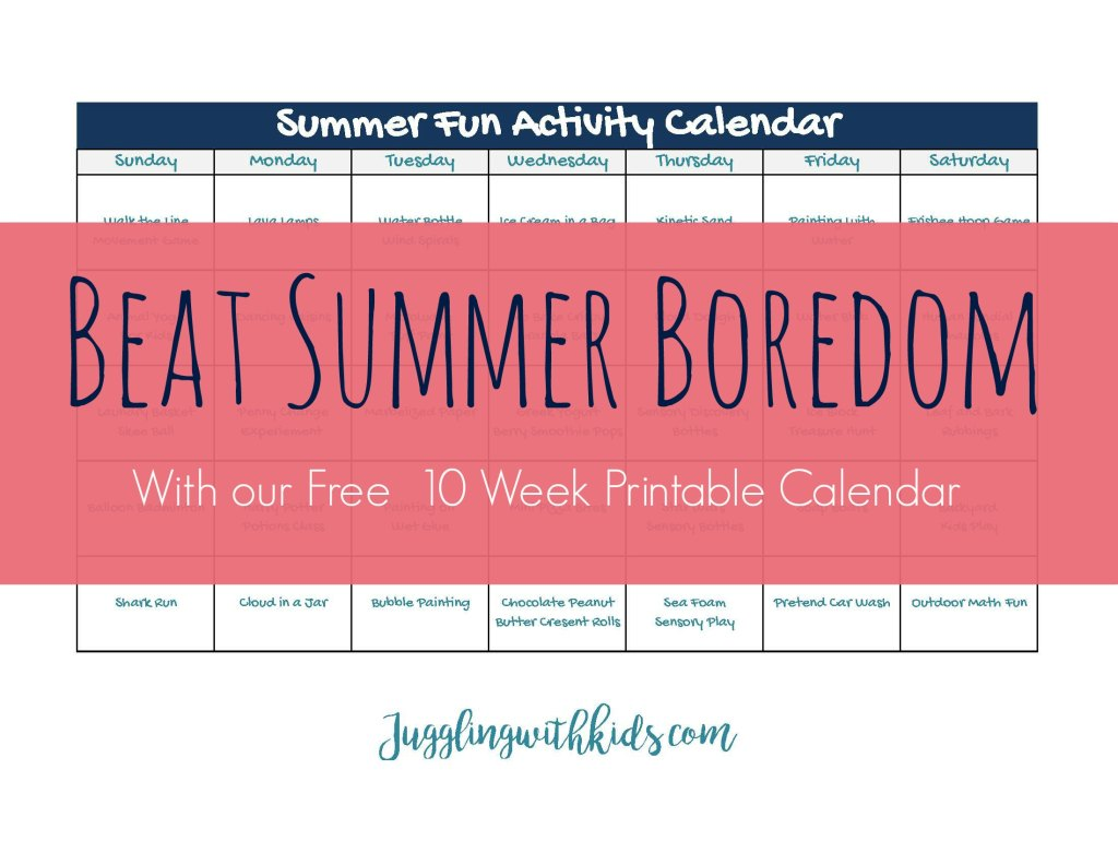 Juggling With Kids - Summer Boredom Busters Calendar
