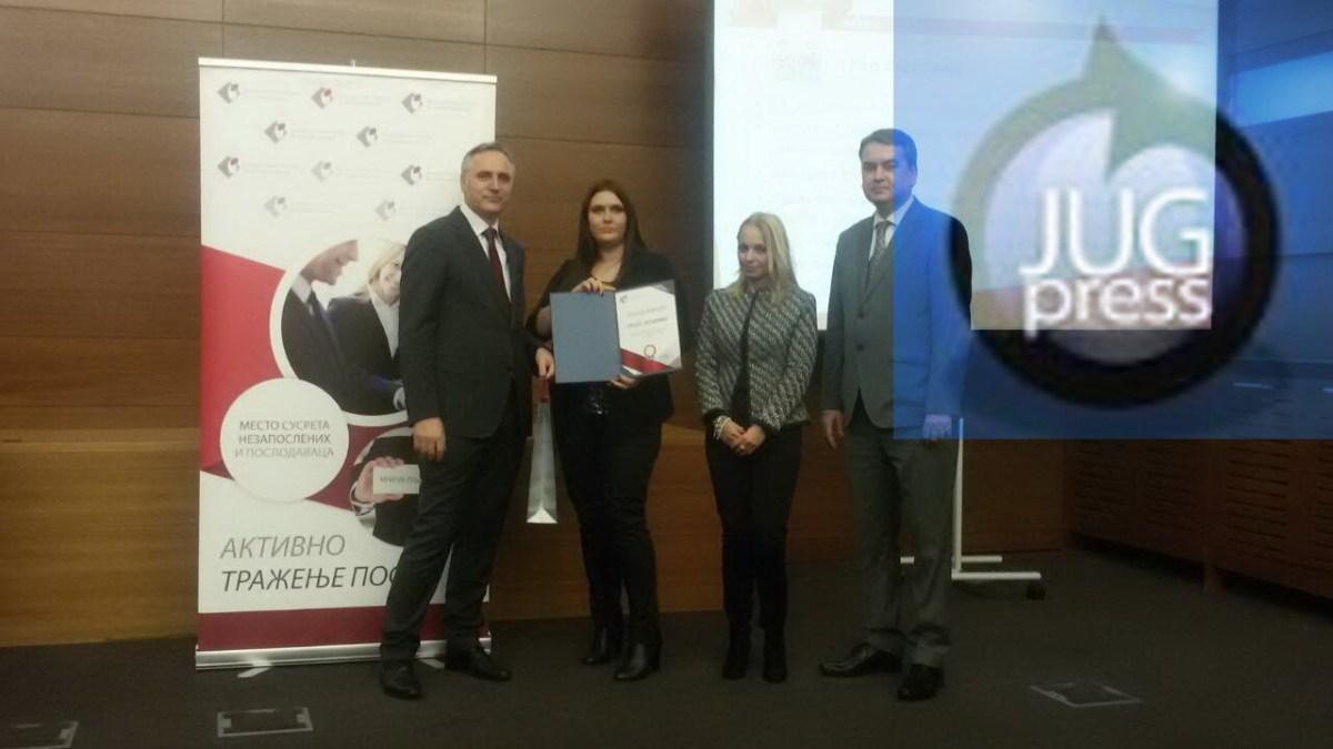Zahvalnicu Leskovcu za doprinos u zapošljavanju primila zamenica gradonačelnika