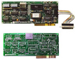 What was, what might have been: At top you see the everyday Super Serial Card that is very commonly in an Apple IIe. Below that, a never-completed alternative Super Serial Card.