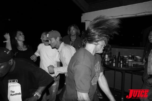 Adam Paul and Tonan moshing upstairs