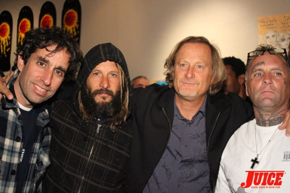 Glen E. Friedman, Tony Alva, Stacy Peralta, Jay Adams. Photo: Dan Levy