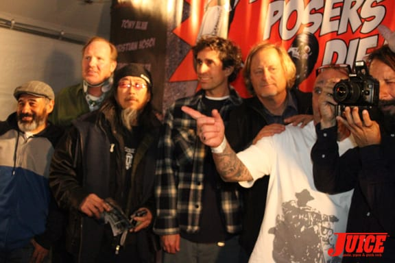 Steve Caballero, Jim Muir, Jeff Ho, Glen E. Friedman, Stacy Peralta, Jay Adams, Tony Alva. Photo: Dan Levy