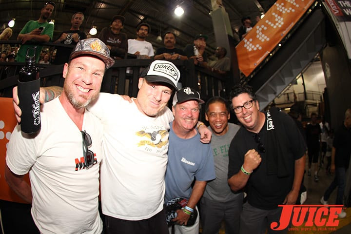 "JEFF AMENT, JEFF GROSSO, CHRIS STROPLE, DOUG ""PINEAPPLE"" SALADINO, JOHN LUCERO. VANS POOL PARTY 2014. PHOTO BY DAN LEVY"