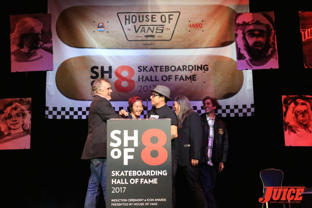 Shogo Kubo's award was accepted by his son, Shota Kubo, along with Christian Hosoi, Jeff Ho and Glen E Friedman. Steve Olson was host of this year's SHOF. Photo by Dan Levy © Juice Magazine