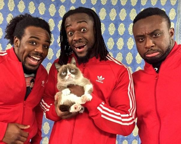 The-New-Day-Kofi-Kingston-Xavier-Woods-Big-E-Langston-WWE-Grumpy-Cat