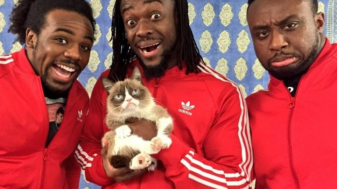 The-New-Day-Kofi-Kingston-Xavier-Woods-Big-E-Langston-WWE-Grumpy-Cat