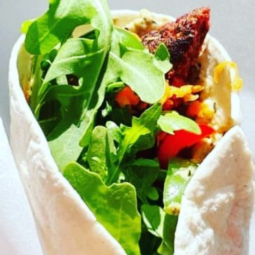 Juicy Lucy's Burger Wrap With Moroccan Salad