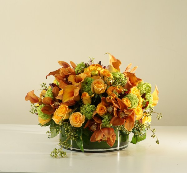 Orange flower centrepiece