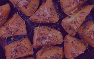 Roasted Rosemary Ginger Sweet Potatoes