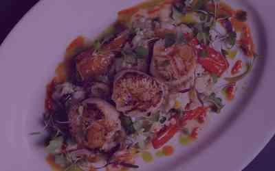 Seared Citrus Basil Scallops & Garlic Parmesan Risotto