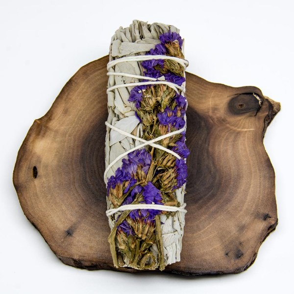 JuJu Royal - White Sage with Blue Statice Flowers