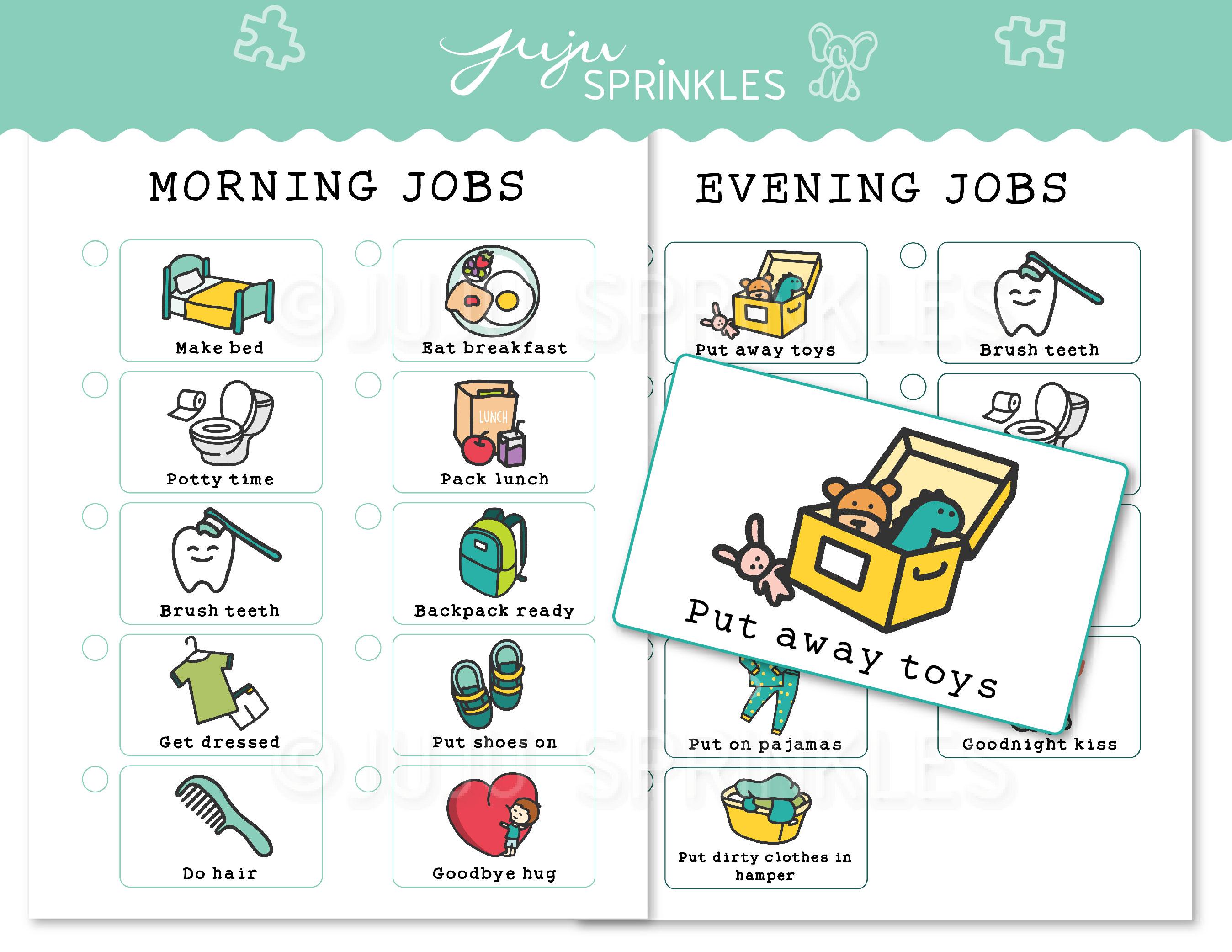 Kids Chore Chart Printable Blue Juju Sprinkles