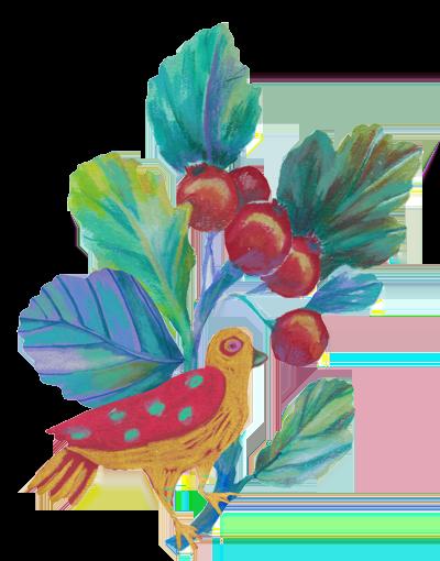 Bird stealing cherries
