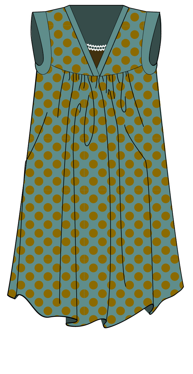 illustration of Alice Dress with V-neck at jujuvail.com