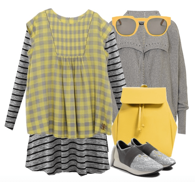 Mood board of Grey and Yellow patterned items