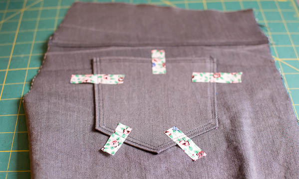 Jean pocket held in place with wash tape at jujuvail.com