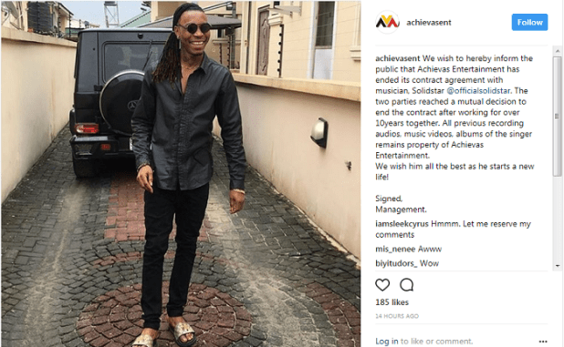 "Solidstar Parts Ways With Record Label ""Achievas Entertainment"""