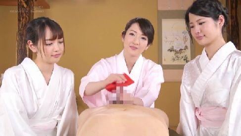 着物美人な熟女女将がちんこを弄る作法を教えていく熟女セックス動画