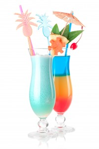 Cocktail collection - Two tropical cocktails with decoration. Isolated on white background