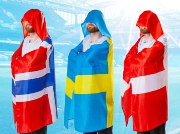 Kappe med flag, flag kappe, gaver til max 40 kr, gaver til 40 kr, pakkelegsgaver, gaver til pakkelegen til max 40 kr, kappe med dannebrog, kappe med dansk flag, kappe med svensk flag, kappe med norsk flag