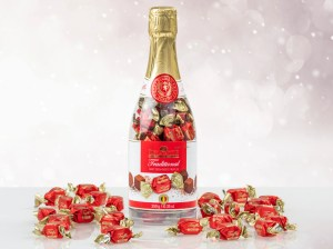 Chokoladetrøffel i Champagneflaske, gaver til pakkelegen, chokolade til jul, julegaver, mandelgaver til børn, mandelgave 2020, spiselige mandelgave