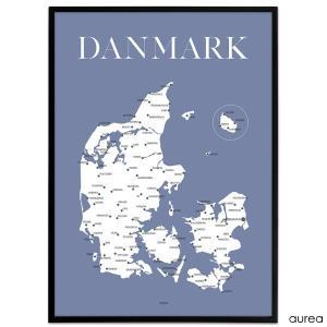 Danmarkskort, danmarkskort plakat, mandelgave ideer, mandelgaver til alle, gaver til studerende, mandelgaver til børn, plakat med danmarkskort