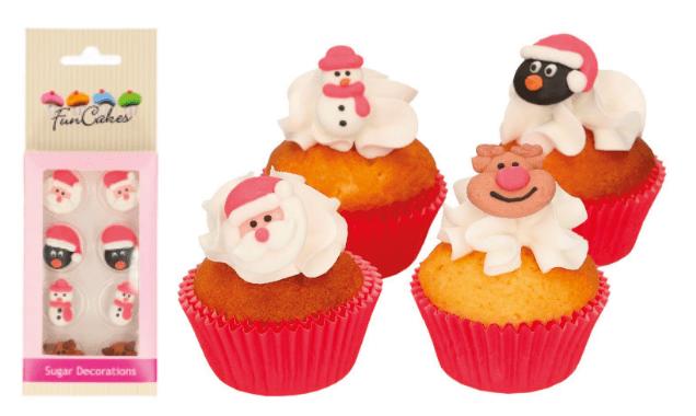 Sukkerdekoration Jule figurer, jule sukkerdekorationer, sukker pynt til kager, julekager med julemanden, julemanden kagetilbehør, kagetilbehør med julemanden