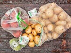 grøntsags poser, frugt poser, frugt net, grønsagsnet, miljøvenlige poser, genanvendelige poser til grøntsager, miljøvenlige gaver, gaver til kvinder