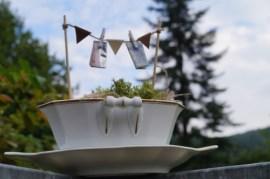 Geldgeschenk für Hochzeit, Sauciere, Wäscheleine