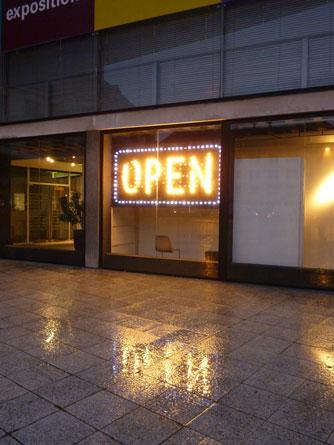 """""""OPEN"""", in situ light installation, 'Suspended Spaces' exhibition, Maison de la Culture Amiens, France"""