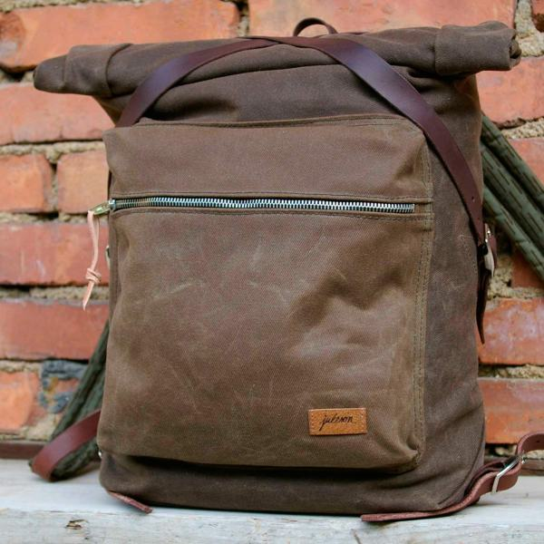 Rucksack canvas rolltop tan