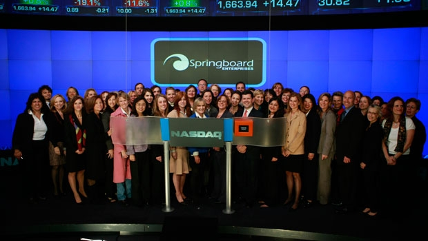 Kay Koplovitz, Chair of Springboard, and Gail Goodman, CEO of Constant Contact are in the center.  That's me in pink and jeans.  Des says I am the only one who refused to wave before the cue, on the video broadcasts.  I was a bit ovewhelmed that day, it is fair to say.