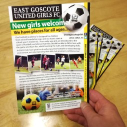 Local Football Club's 'New Girls Welcome' flyer