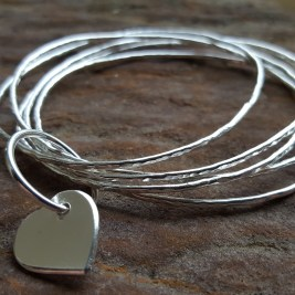 Silver Stacking Bangles plus Heart