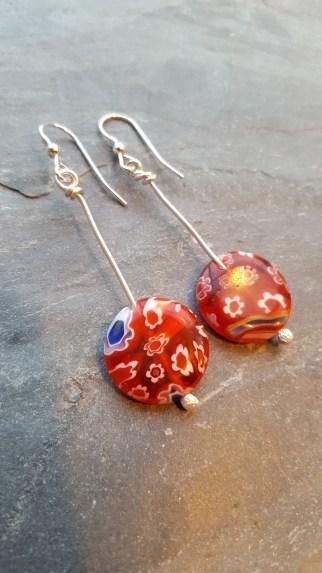 Millefiori glass bead earrings