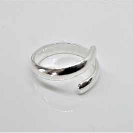 Chunky Silver D Wire Wrap Ring