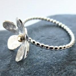 Silver Daisy EcoSilver ring With EcoGold Centre £40.00 +