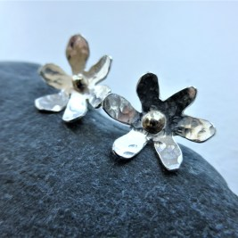 Eco Silver Flower Earrings with 9ct Eco Gold centre. £35.00