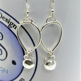 Sterling Silver Petal Earrings with SOLID Silver Ball. £38.00