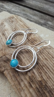 Eco-Silver and Turquoise Gemstone Drop Earrings