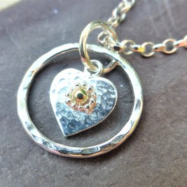 Hammered Heart Pendant with Fairtrade 18ct Gold and Fine Silver Detail