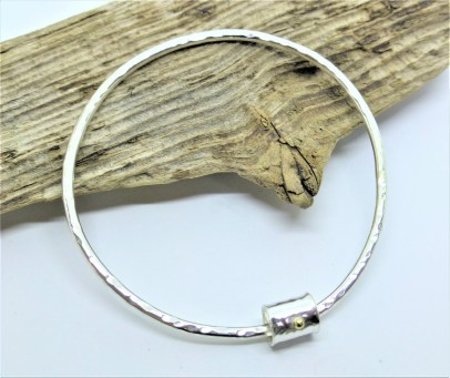 Eco-Silver Hammered Bangle with Fairtrade 18ct Gold Bead Charm